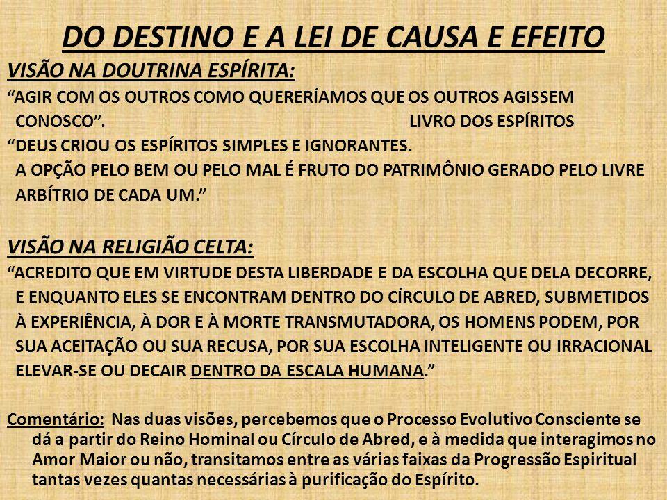 DO DESTINO E A LEI DE CAUSA E EFEITO