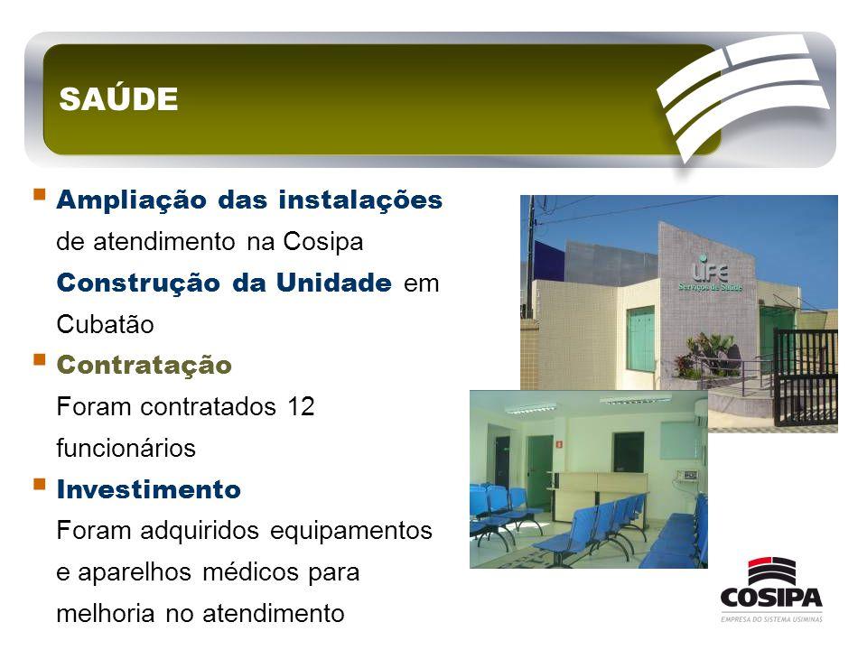 SAÚDE Ampliação das instalações de atendimento na Cosipa Construção da Unidade em Cubatão. Contratação Foram contratados 12 funcionários.