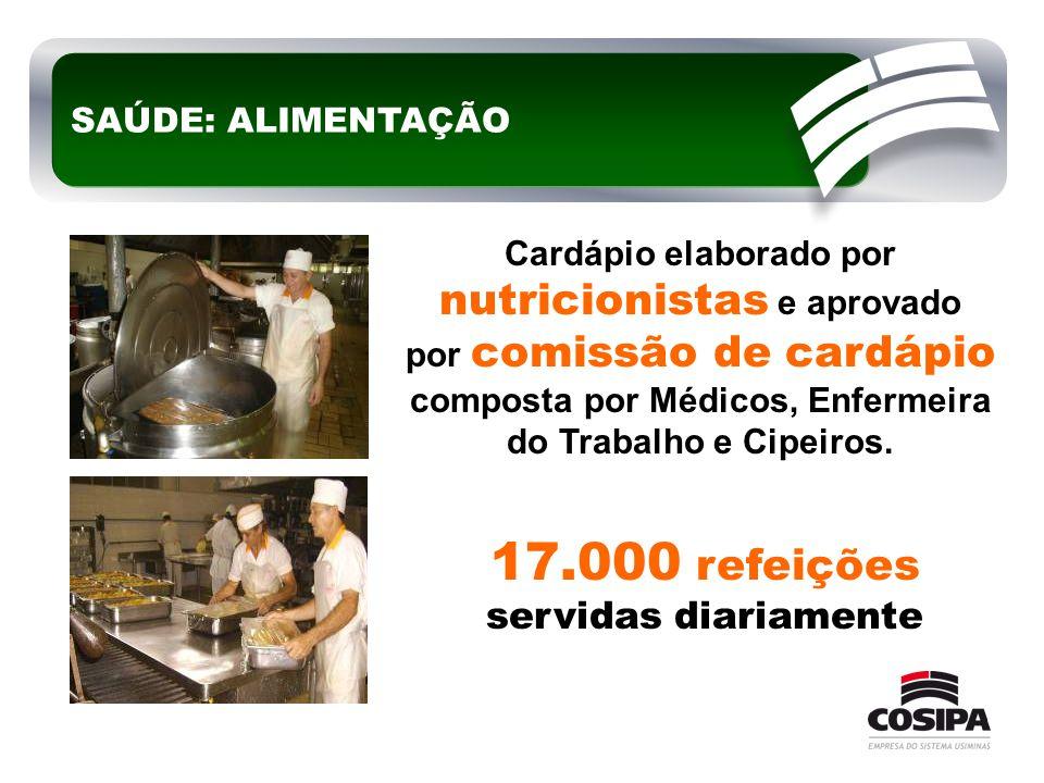 17.000 refeições servidas diariamente SAÚDE: ALIMENTAÇÃO