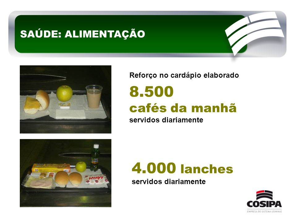8.500 4.000 lanches cafés da manhã SAÚDE: ALIMENTAÇÃO