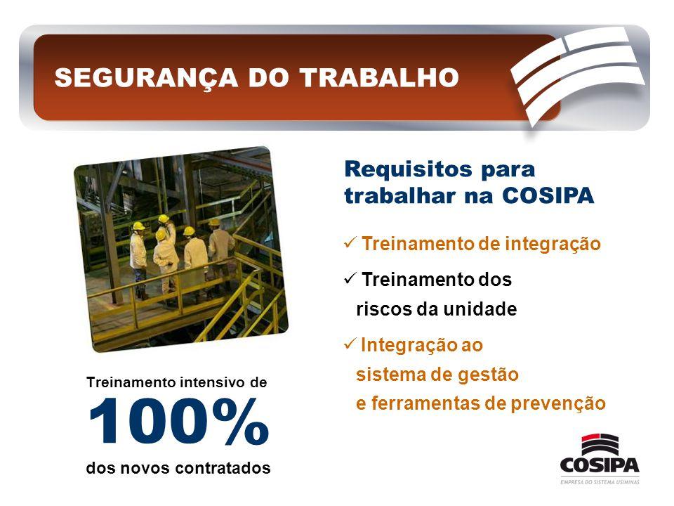 100% SEGURANÇA DO TRABALHO Requisitos para trabalhar na COSIPA