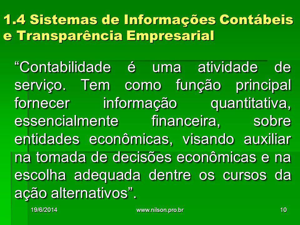 1.4 Sistemas de Informações Contábeis e Transparência Empresarial