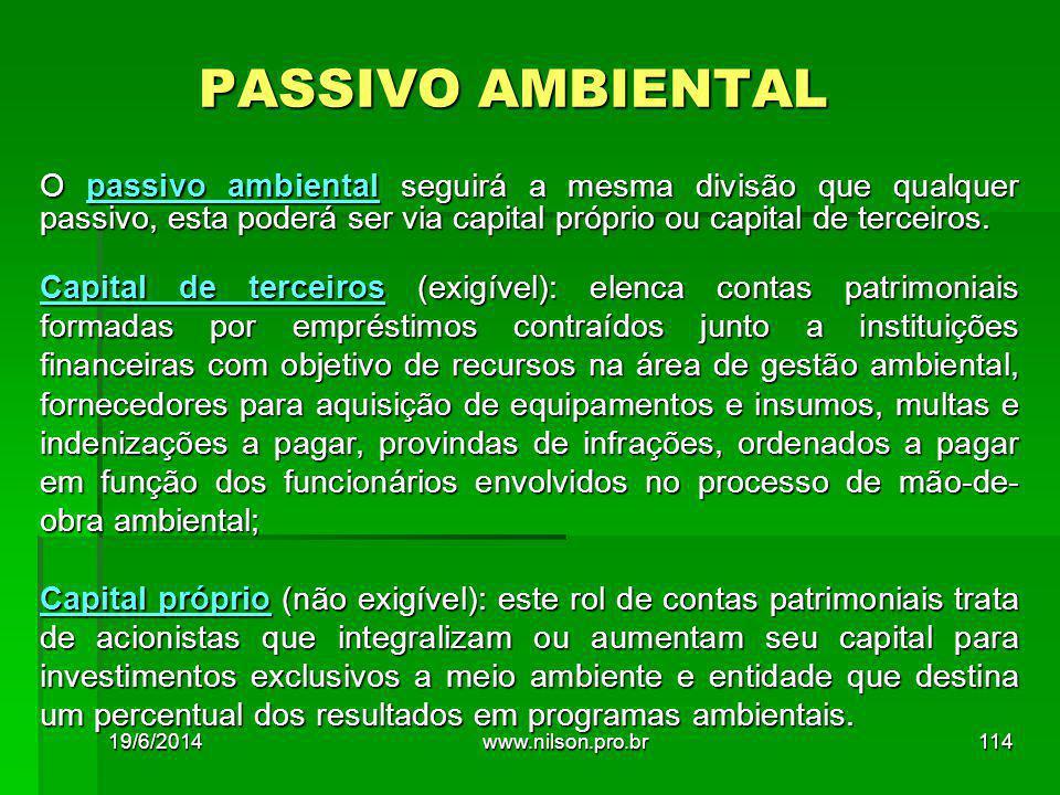 PASSIVO AMBIENTAL O passivo ambiental seguirá a mesma divisão que qualquer passivo, esta poderá ser via capital próprio ou capital de terceiros.