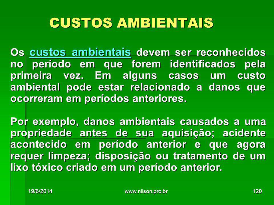CUSTOS AMBIENTAIS