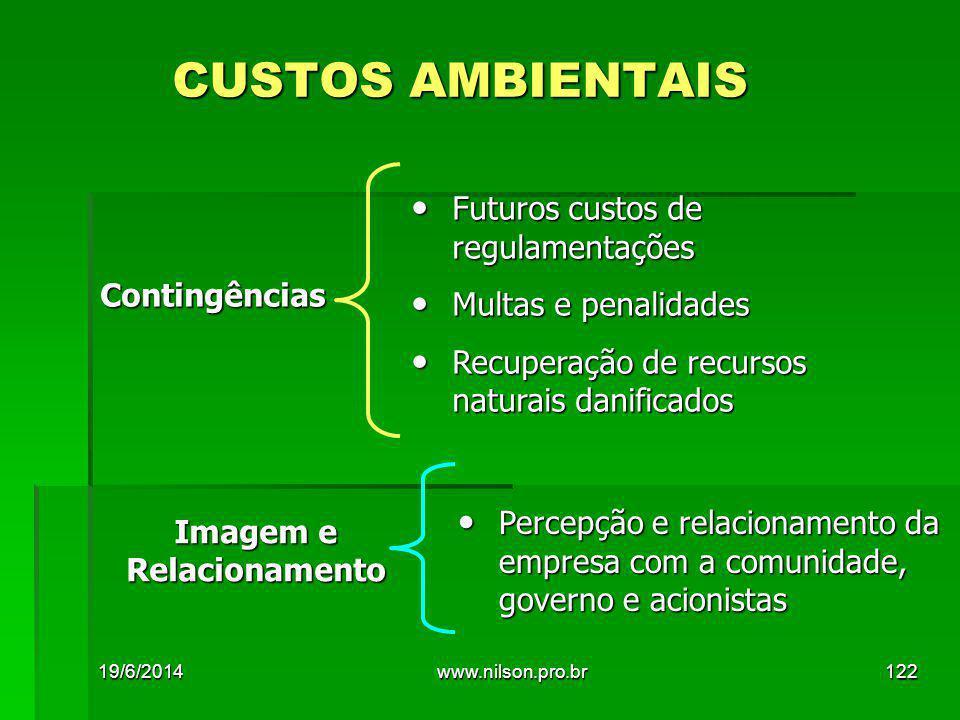 CUSTOS AMBIENTAIS Futuros custos de regulamentações