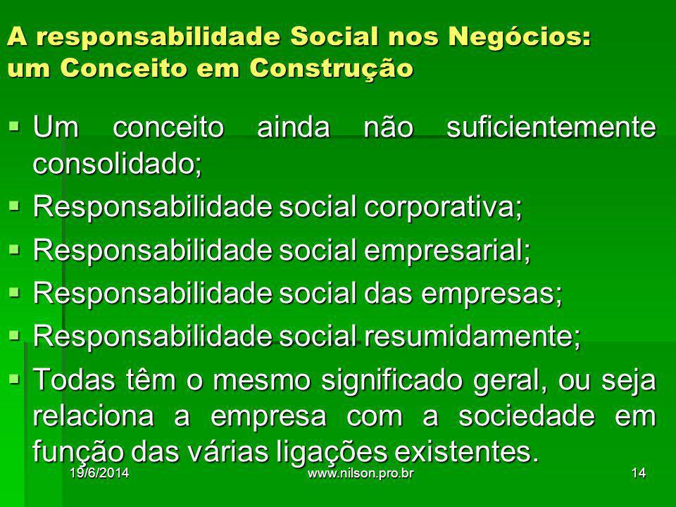 A responsabilidade Social nos Negócios: um Conceito em Construção