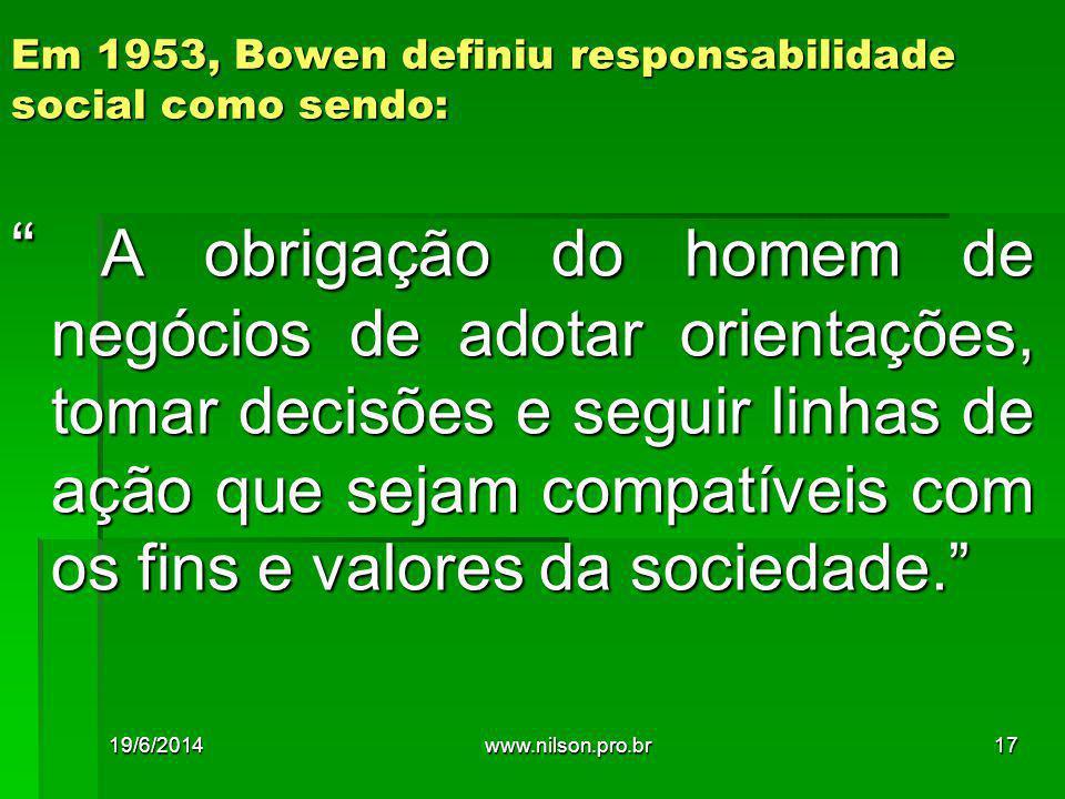 Em 1953, Bowen definiu responsabilidade social como sendo: