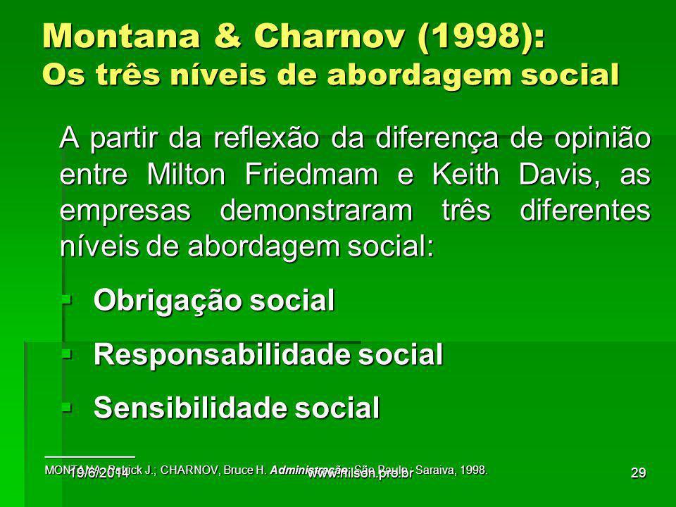Montana & Charnov (1998): Os três níveis de abordagem social