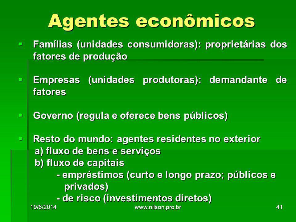 Agentes econômicos Famílias (unidades consumidoras): proprietárias dos fatores de produção. Empresas (unidades produtoras): demandante de fatores.