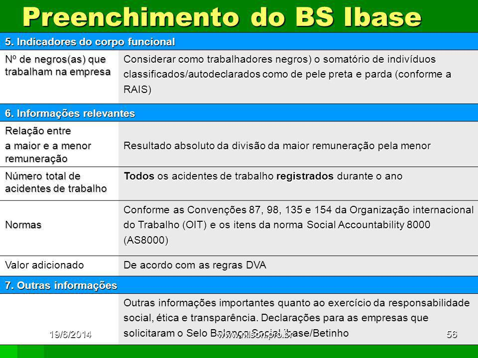 Preenchimento do BS Ibase