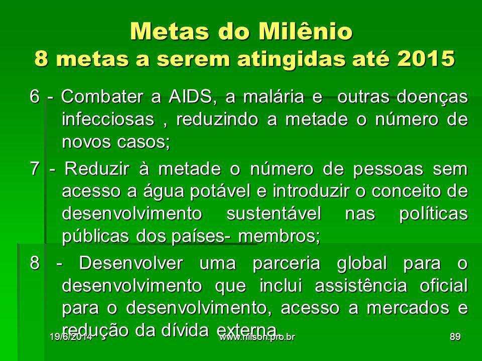 Metas do Milênio 8 metas a serem atingidas até 2015