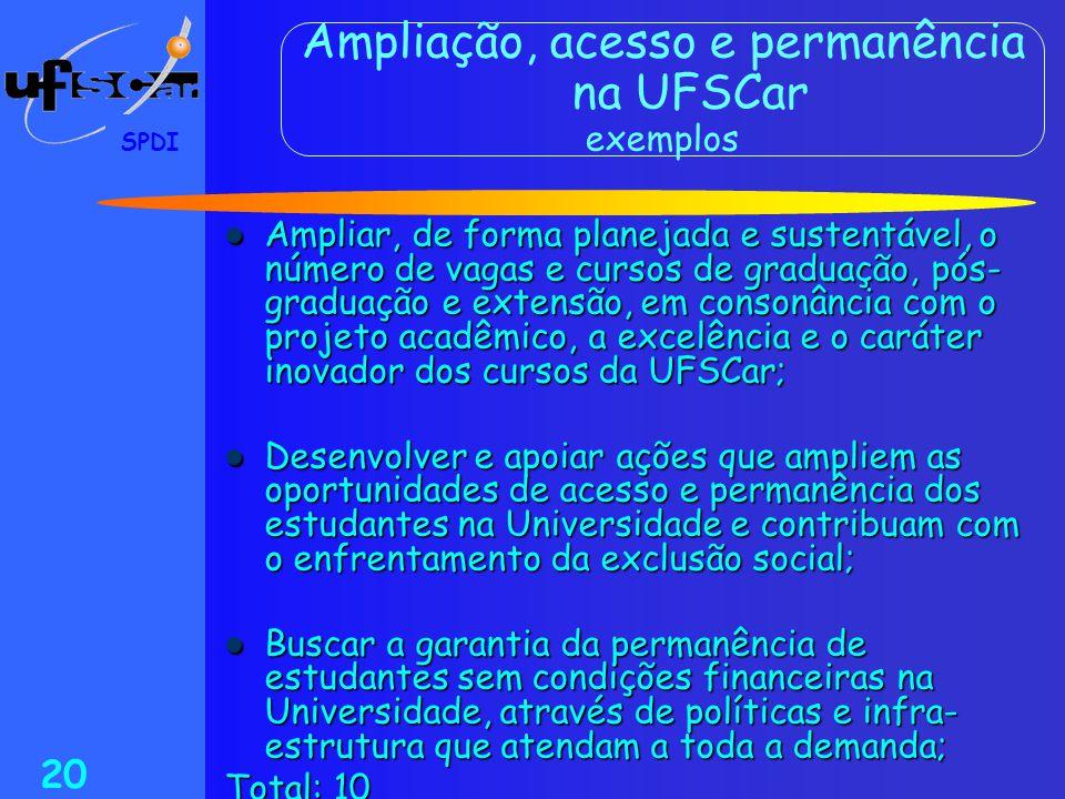 Ampliação, acesso e permanência na UFSCar exemplos