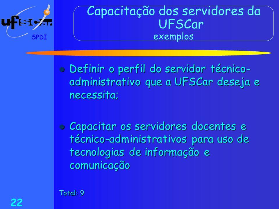 Capacitação dos servidores da UFSCar exemplos
