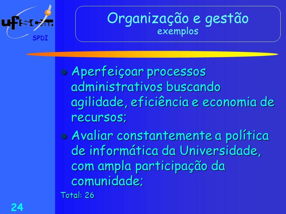 Organização e gestão exemplos