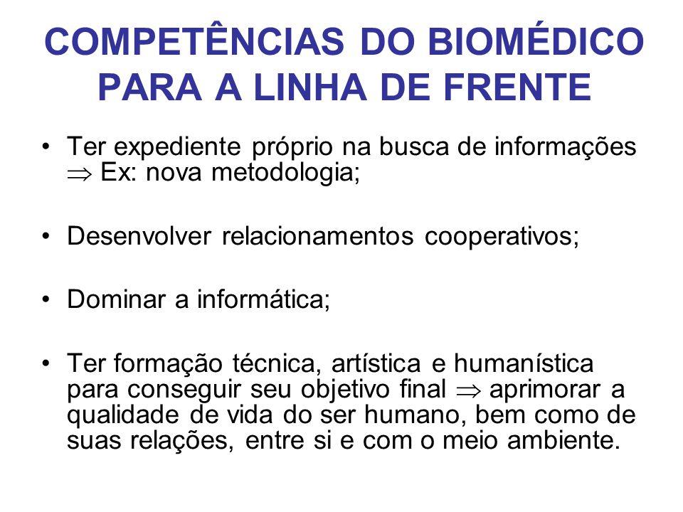 COMPETÊNCIAS DO BIOMÉDICO PARA A LINHA DE FRENTE
