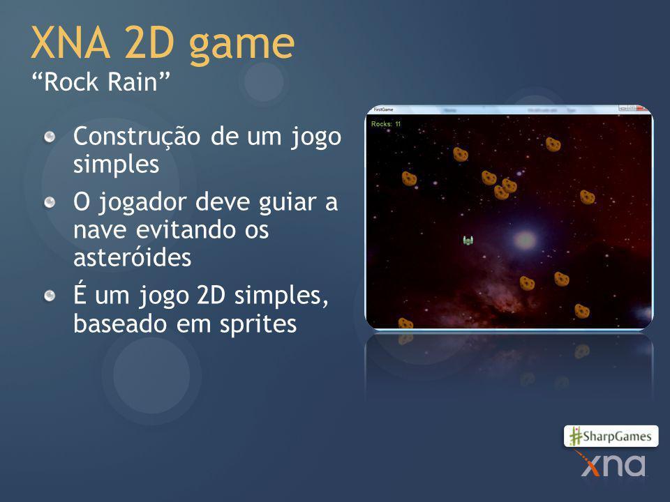 XNA 2D game Rock Rain Construção de um jogo simples