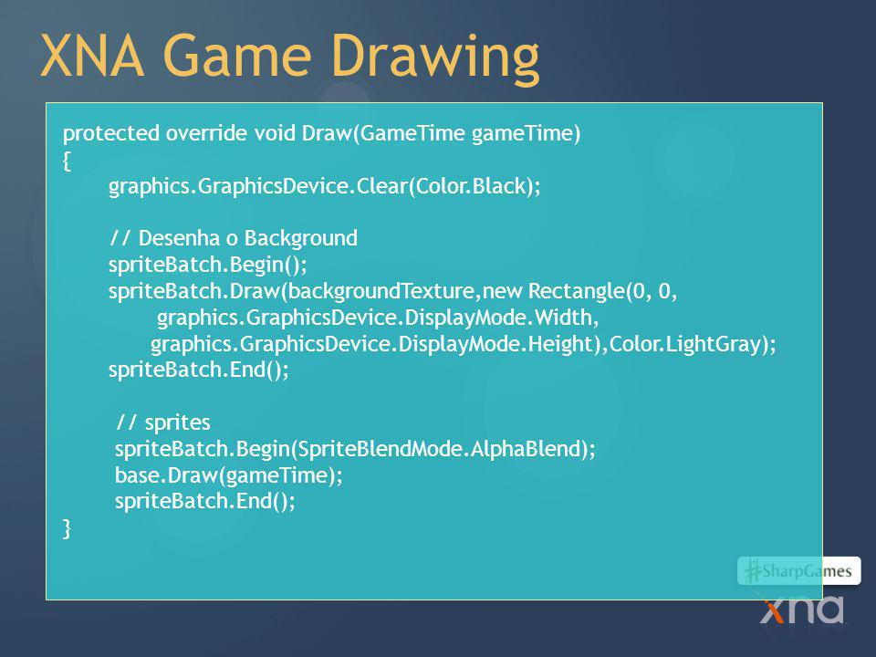 XNA Game Drawing protected override void Draw(GameTime gameTime) {