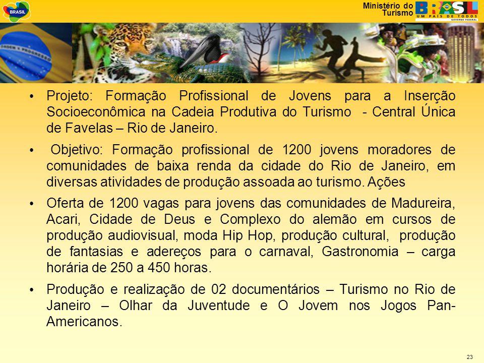 Projeto: Formação Profissional de Jovens para a Inserção Socioeconômica na Cadeia Produtiva do Turismo - Central Única de Favelas – Rio de Janeiro.