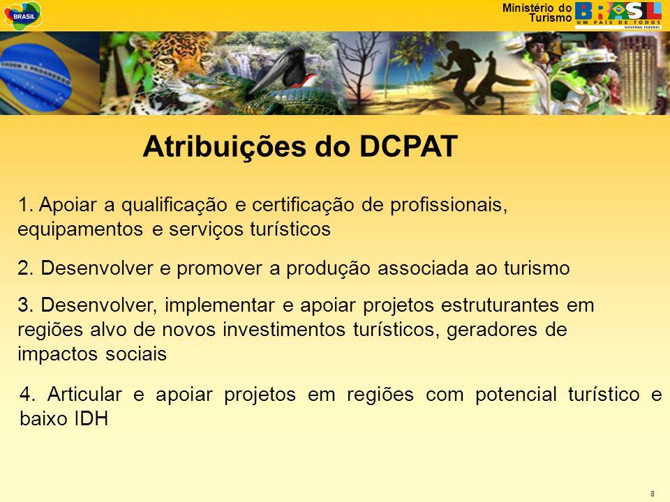 Atribuições do DCPAT 1. Apoiar a qualificação e certificação de profissionais, equipamentos e serviços turísticos.