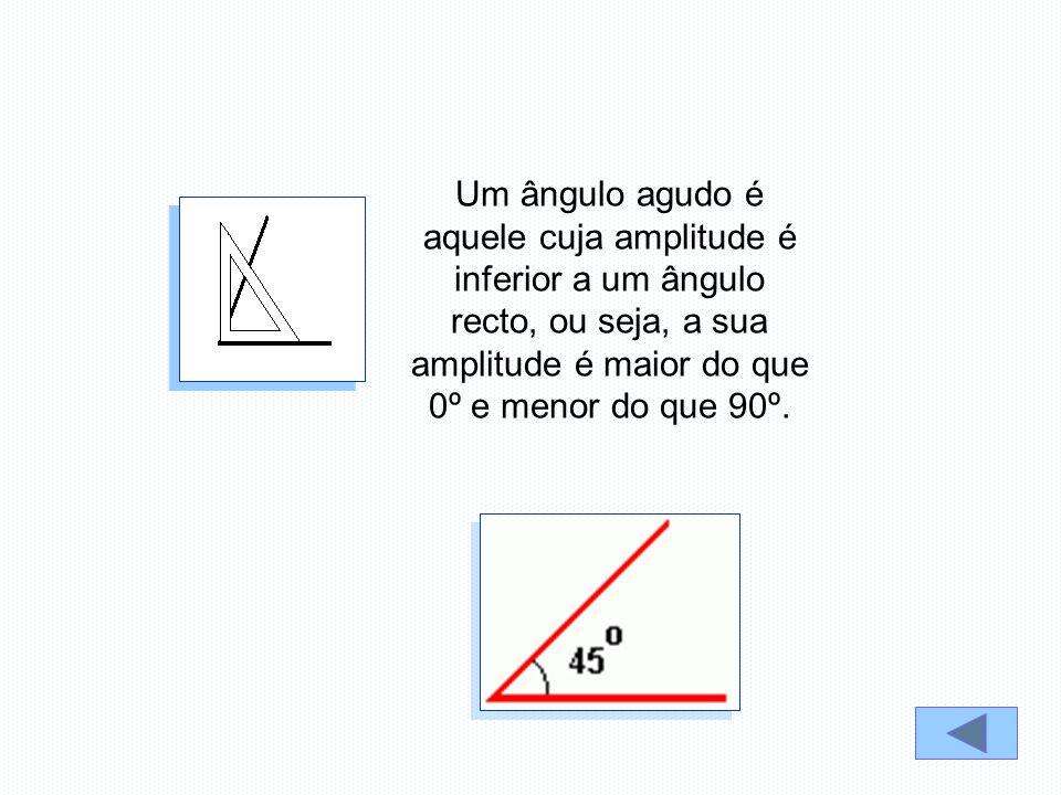 Um ângulo agudo é aquele cuja amplitude é inferior a um ângulo recto, ou seja, a sua amplitude é maior do que 0º e menor do que 90º.