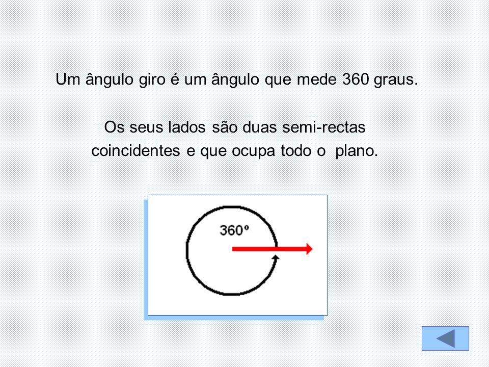 Um ângulo giro é um ângulo que mede 360 graus.