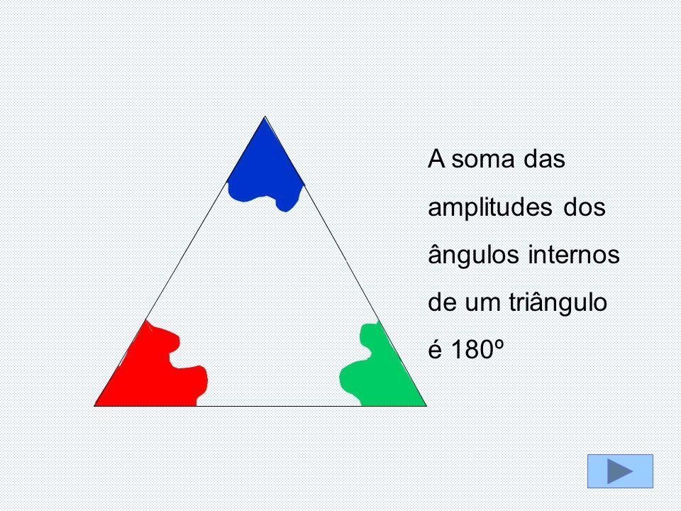 A soma das amplitudes dos ângulos internos de um triângulo é 180º