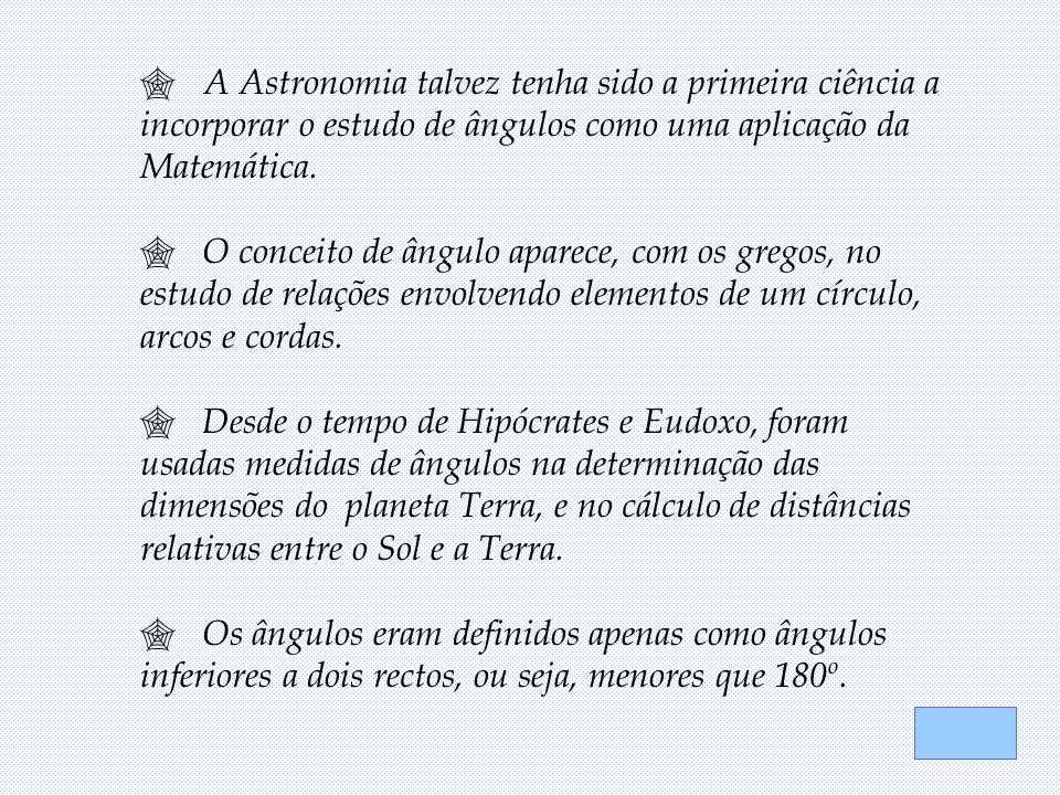 A Astronomia talvez tenha sido a primeira ciência a incorporar o estudo de ângulos como uma aplicação da Matemática.