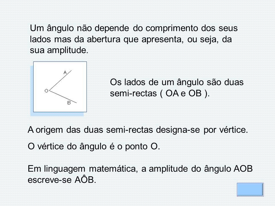 Um ângulo não depende do comprimento dos seus lados mas da abertura que apresenta, ou seja, da sua amplitude.