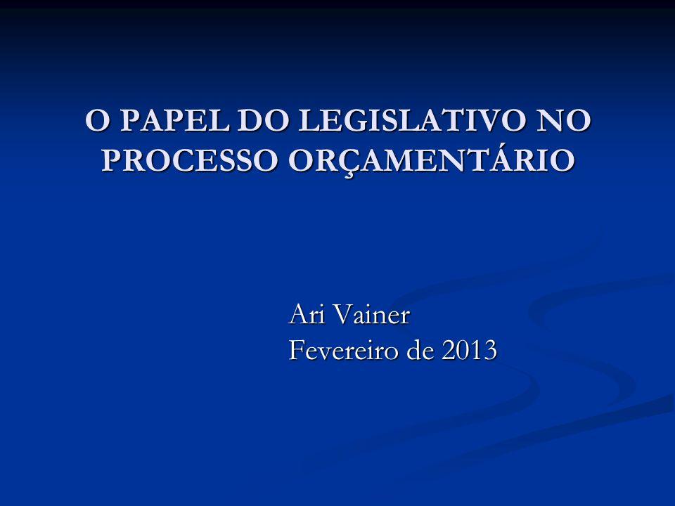 O PAPEL DO LEGISLATIVO NO PROCESSO ORÇAMENTÁRIO