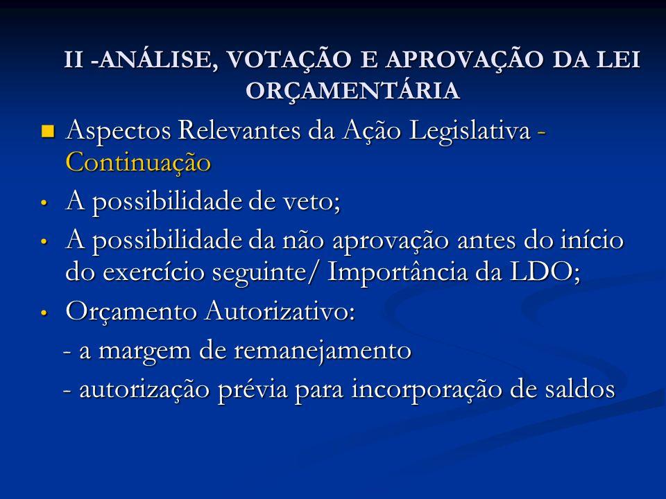 II -ANÁLISE, VOTAÇÃO E APROVAÇÃO DA LEI ORÇAMENTÁRIA