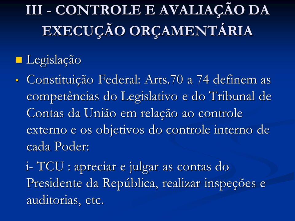 III - CONTROLE E AVALIAÇÃO DA EXECUÇÃO ORÇAMENTÁRIA
