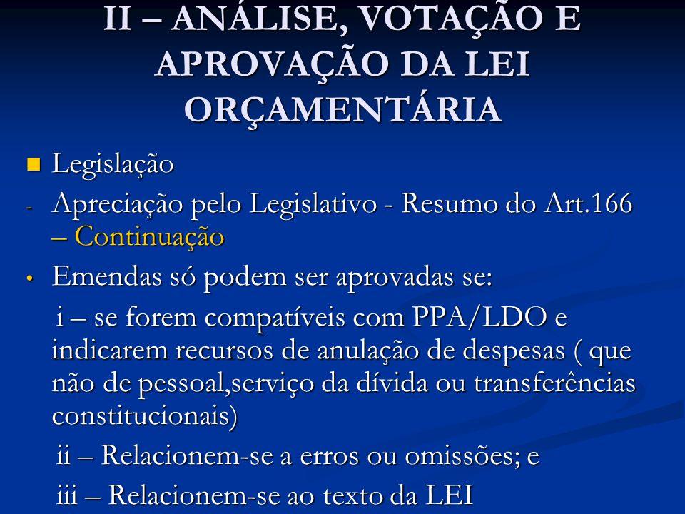 II – ANÁLISE, VOTAÇÃO E APROVAÇÃO DA LEI ORÇAMENTÁRIA