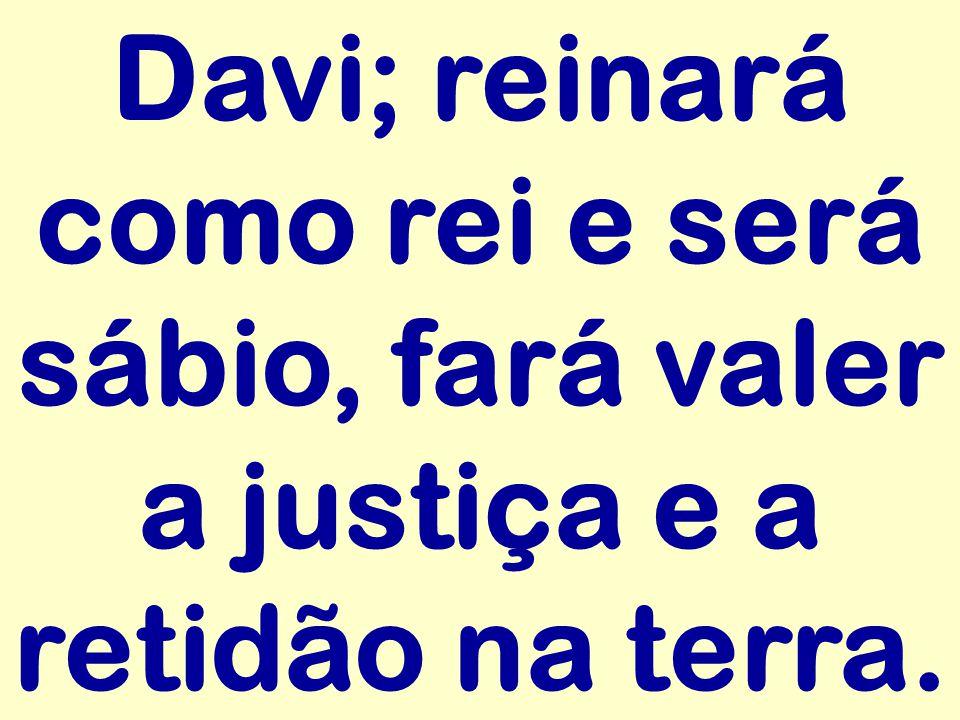 Davi; reinará como rei e será sábio, fará valer a justiça e a retidão na terra.