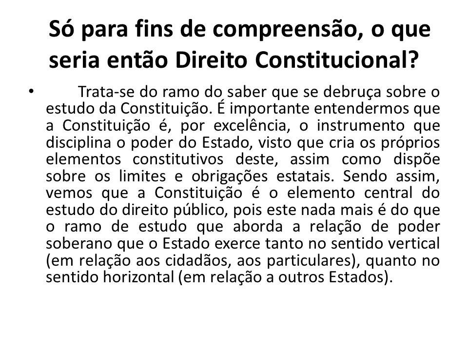 Só para fins de compreensão, o que seria então Direito Constitucional