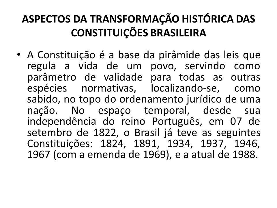 ASPECTOS DA TRANSFORMAÇÃO HISTÓRICA DAS CONSTITUIÇÕES BRASILEIRA