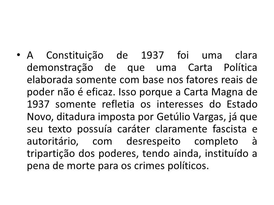 A Constituição de 1937 foi uma clara demonstração de que uma Carta Política elaborada somente com base nos fatores reais de poder não é eficaz.