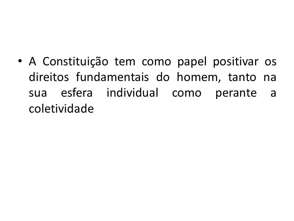 A Constituição tem como papel positivar os direitos fundamentais do homem, tanto na sua esfera individual como perante a coletividade