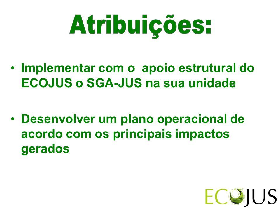 Atribuições: Implementar com o apoio estrutural do ECOJUS o SGA-JUS na sua unidade.