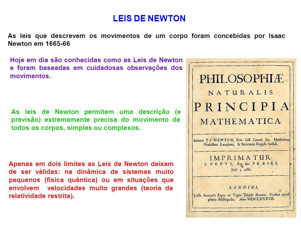 LEIS DE NEWTON As leis que descrevem os movimentos de um corpo foram concebidas por Isaac Newton em 1665-66.