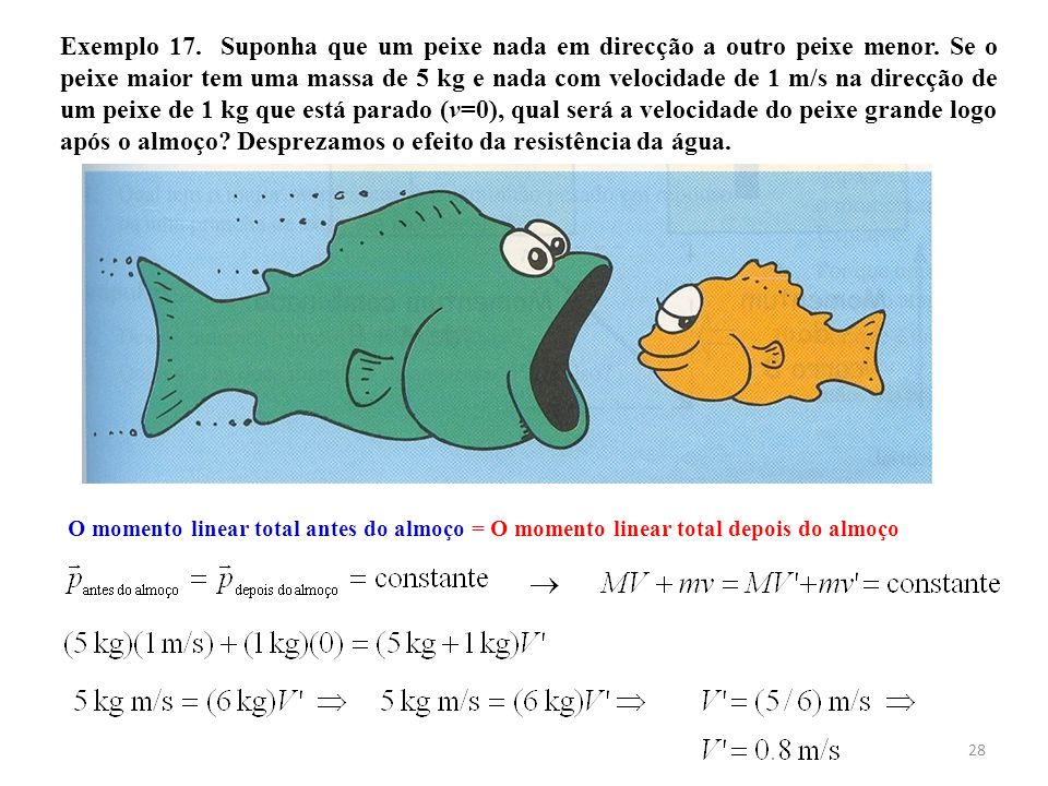 Exemplo 17. Suponha que um peixe nada em direcção a outro peixe menor