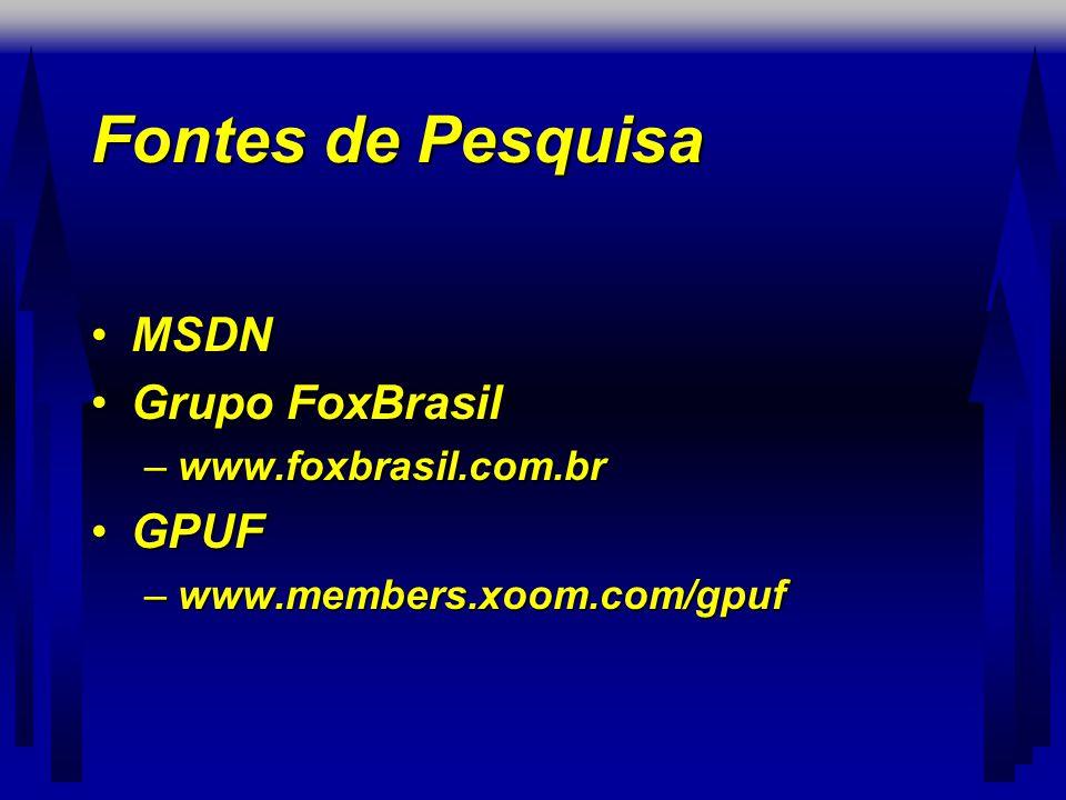 Fontes de Pesquisa MSDN Grupo FoxBrasil GPUF www.foxbrasil.com.br