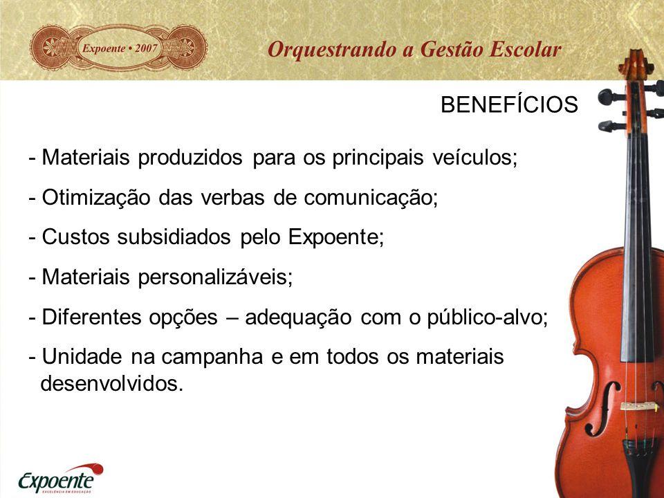 BENEFÍCIOS - Materiais produzidos para os principais veículos;