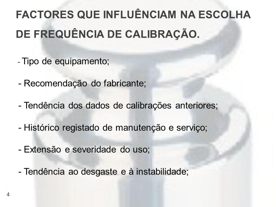 FACTORES QUE INFLUÊNCIAM NA ESCOLHA DE FREQUÊNCIA DE CALIBRAÇÃO.