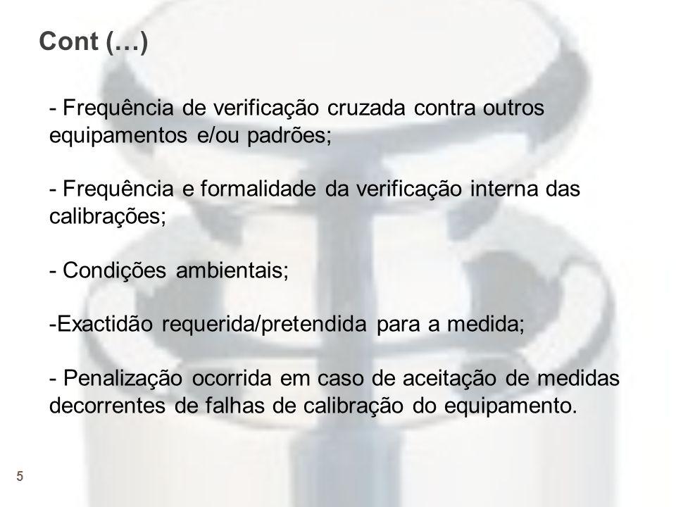 Cont (…) - Frequência de verificação cruzada contra outros equipamentos e/ou padrões;