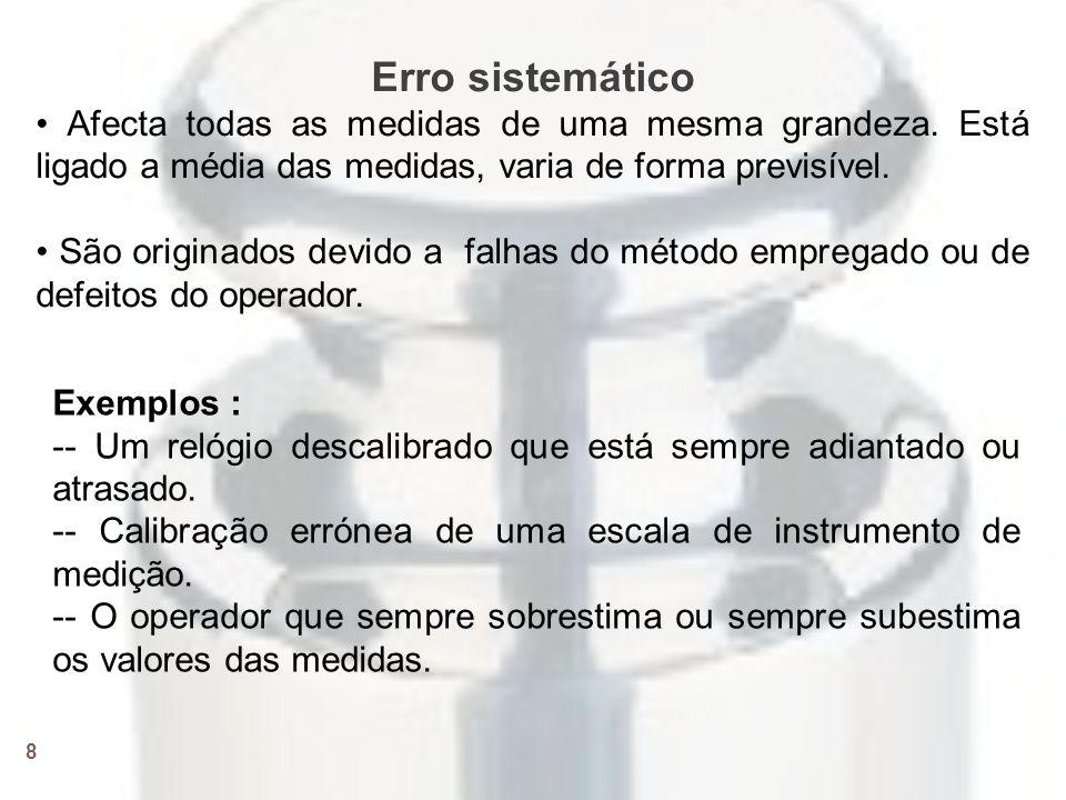 Erro sistemático • Afecta todas as medidas de uma mesma grandeza. Está ligado a média das medidas, varia de forma previsível.