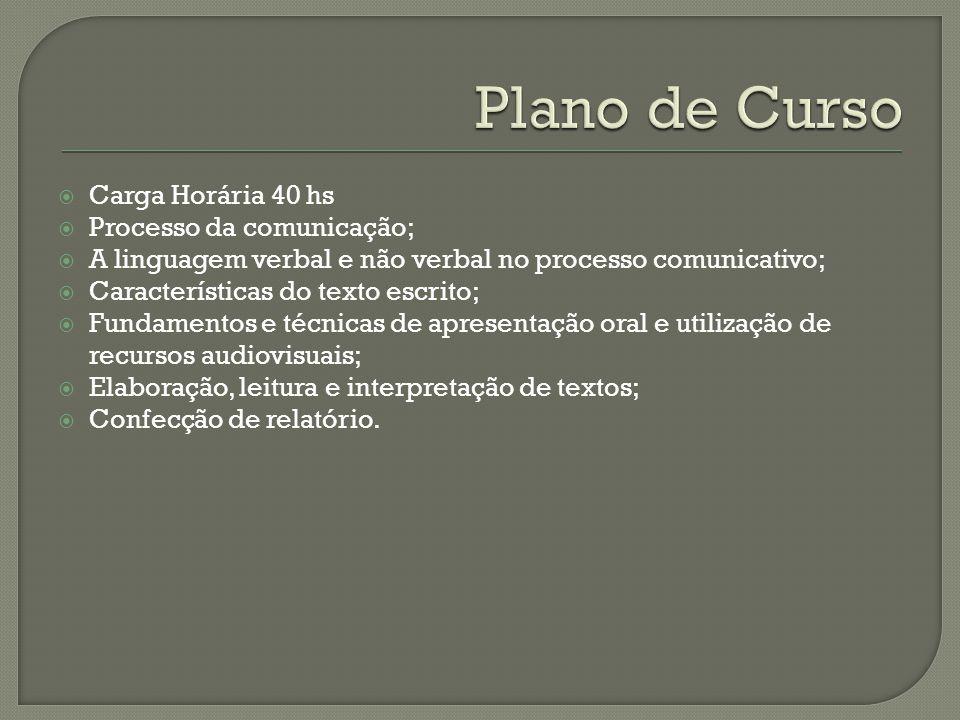 Plano de Curso Carga Horária 40 hs Processo da comunicação;