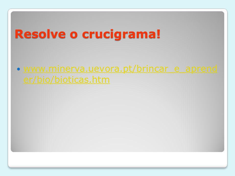 Resolve o crucigrama! www.minerva.uevora.pt/brincar_e_aprend er/bio/bioticas.htm