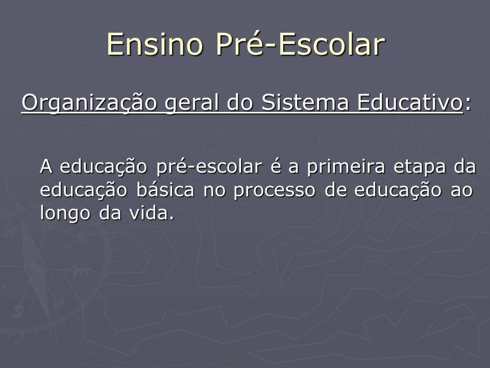 Ensino Pré-Escolar Organização geral do Sistema Educativo: