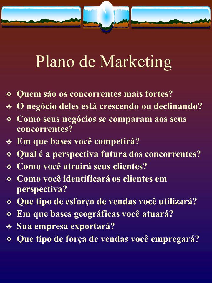 Plano de Marketing Quem são os concorrentes mais fortes