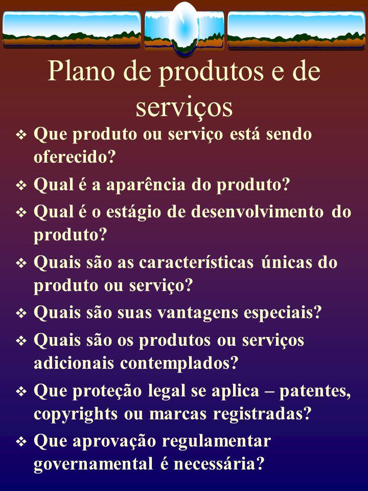 Plano de produtos e de serviços